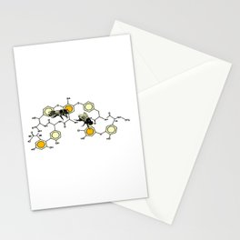 Bees making honey on macromolecular structure as a bee house  Stationery Cards