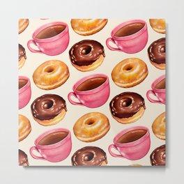 Coffee & Donuts Pattern Metal Print