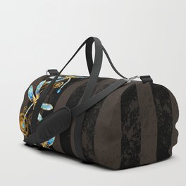 Steampunk Design with Mechanical Dragonflies Duffle Bag