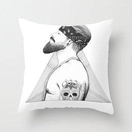 Beard Man - Thug Life Throw Pillow