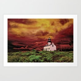 Cabrillo Lighthouse on a Stormy Day (infrared) Art Print