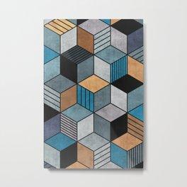 Colorful cubes - blue, grey, brown Metal Print