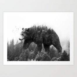 Walking trough the forest Art Print