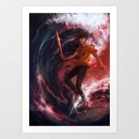 percy jackson Art Prints featuring Dark Percy by k1216