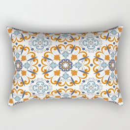Retro Vintage Decorative Mosaic Azulejo Blue and Orange 2 Rectangular Pillow