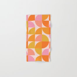 Mid Century Mod Geometry in Pink and Orange Hand & Bath Towel