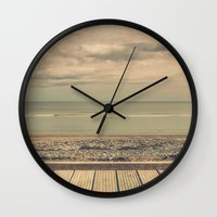 boardwalk empire Wall Clocks featuring Boardwalk by Marc Daly