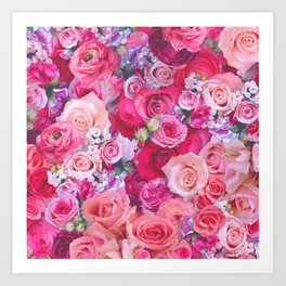 Pink Roses floral pattern Art Print