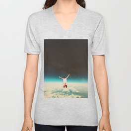 Falling with a hidden smile Unisex V-Neck