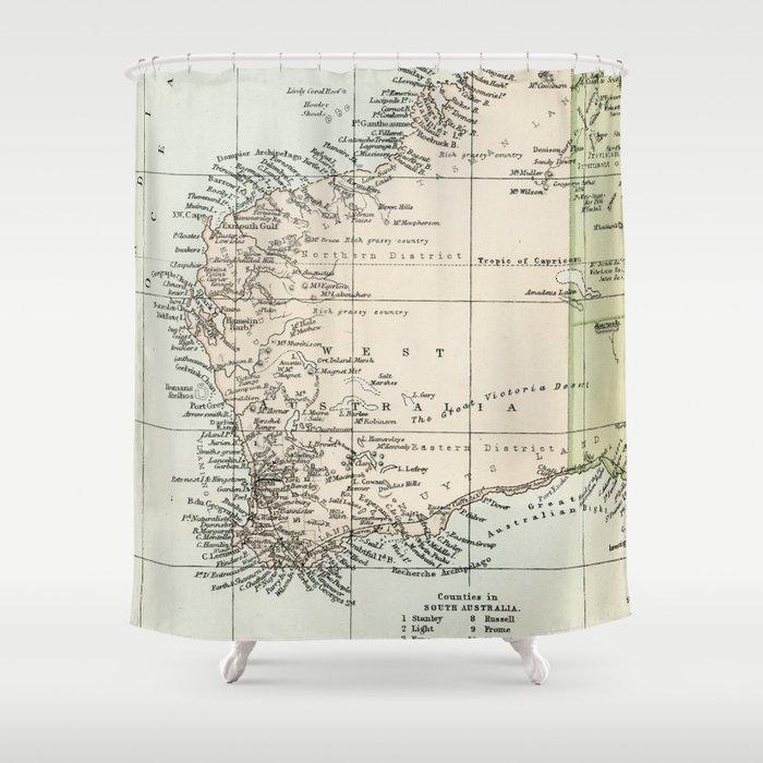 Vintage Map of the West Of Australia Duschvorhang von graphikz ... on