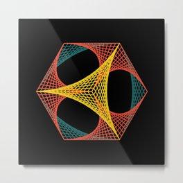 Cube! Geometric Line Art Metal Print