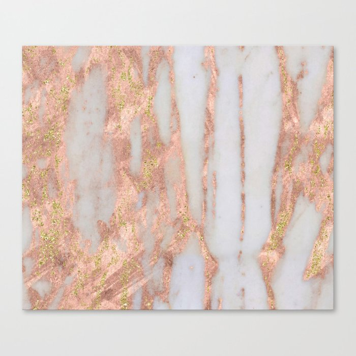 Aprillia - rose gold marble with gold flecks Canvas Print