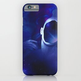 Surrounded by starry space in human head iPhone Case