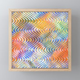 Artistic Stylish Colorful Faux Embossed 3D Waves Pattern Framed Mini Art Print