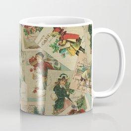 Vintage Christmas Postcard Collage Print - Santa / Stamps / Pattern / Victorian Coffee Mug