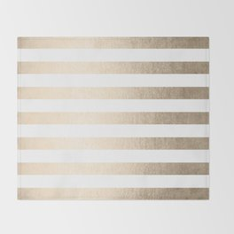 Simply Striped in White Gold Sands Throw Blanket