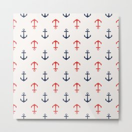 Nautical anchor pattern Metal Print
