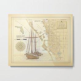 """Siesta Key """"vintage inspired"""" artistic area map print Metal Print"""