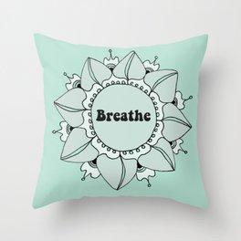 Breathe Yoga Boho Mandala Light Blue Green Throw Pillow