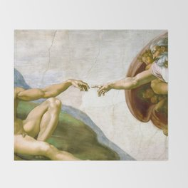 The Creation of Adam Painting by Michelangelo Sistine Chapel Throw Blanket