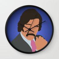anchorman Wall Clocks featuring Brian Fantana - Anchorman by Tom Storrer