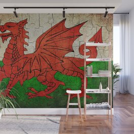 Vintage Wales flag Wall Mural