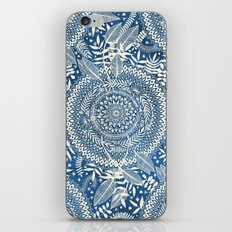 Diamond and Doodle Mandala On Blue iPhone & iPod Skin