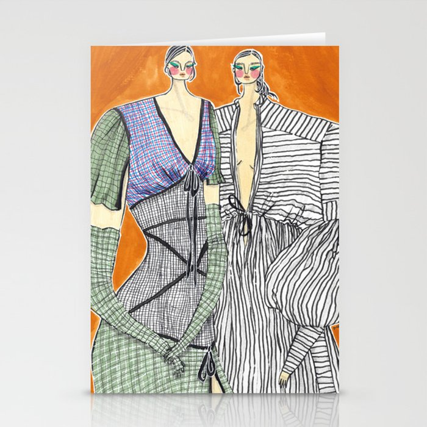 Rosie Assoulin Girls No. 2 – Original Fashion art, Fashion Illustration, Fashion wall art Stationery Cards