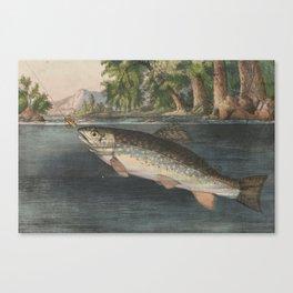 Vintage River Fishing Illustration (1874) Canvas Print