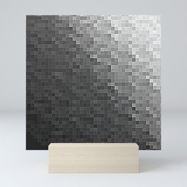Gray Ombre Pixels Mini Art Print