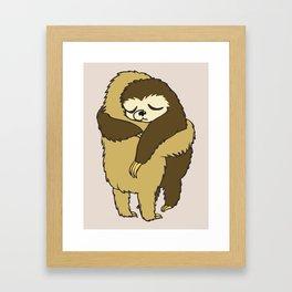 Sloth Hugs Framed Art Print