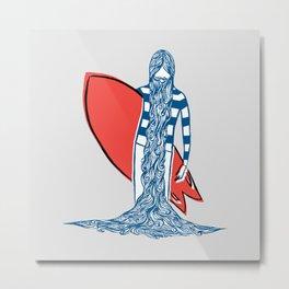 Blue Beard Surfer Metal Print