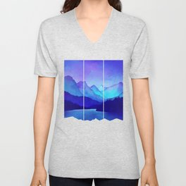 Cerulean Blue Mountains Unisex V-Neck