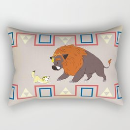 Courage Wolf and Power Pig Rectangular Pillow