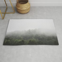 Foggy Forest Mist Landscape Photography | Woods | Nature | Travel | Rustic Rug