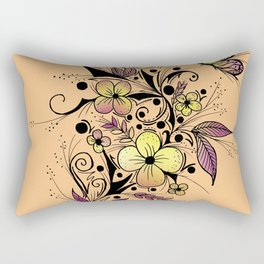 Flower Tattoo in Yellow and Purple Rectangular Pillow