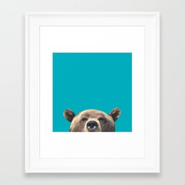 Bear - Blue Framed Art Print