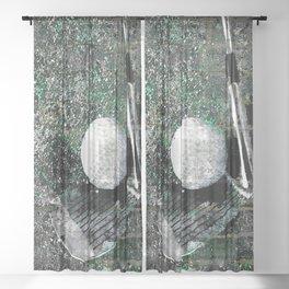 Golf art print work 13 Sheer Curtain