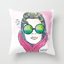 Hipster lady Throw Pillow