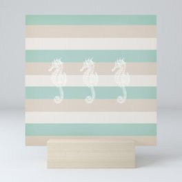 3 seahorses Mini Art Print