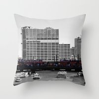 blackhawks Throw Pillows featuring Chicago Blackhawks 2013 Championship Parade Route by Michael A. Hubatch