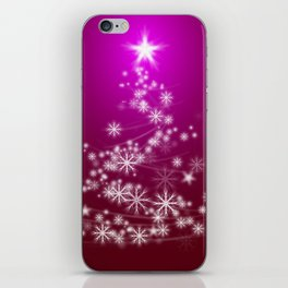 Whimsical Glowing Christmas Tree with Snowflakes in Red Bokeh iPhone Skin