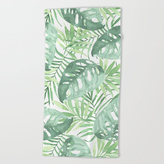 Tropical Branches Pattern 03 Beach Towel