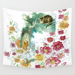 Floral Alice In Wonderland Wall Tapestry