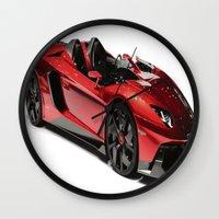 lamborghini Wall Clocks featuring Lamborghini Veneno by rosita