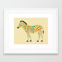 stripe Framed Art Prints featuring Zebra by Jazzberry Blue