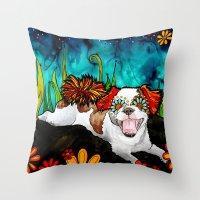 shih tzu Throw Pillows featuring Shih Tzu by RobiniArt