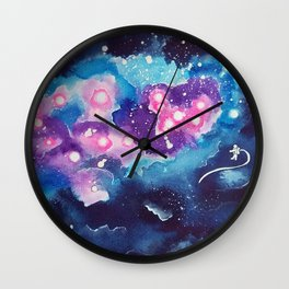 Tiny Astronaut and the Blue Nebula Wall Clock
