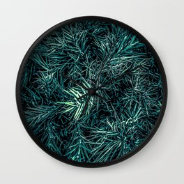 green spiky plant texture abstract background Wall Clock