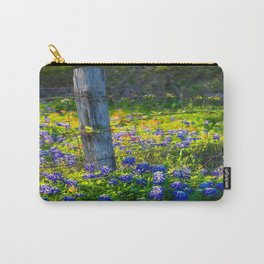Country Living - Fence Post and Vines Among Bluebonnets and Indian Paintbrush Wildflowers Carry-All Pouch